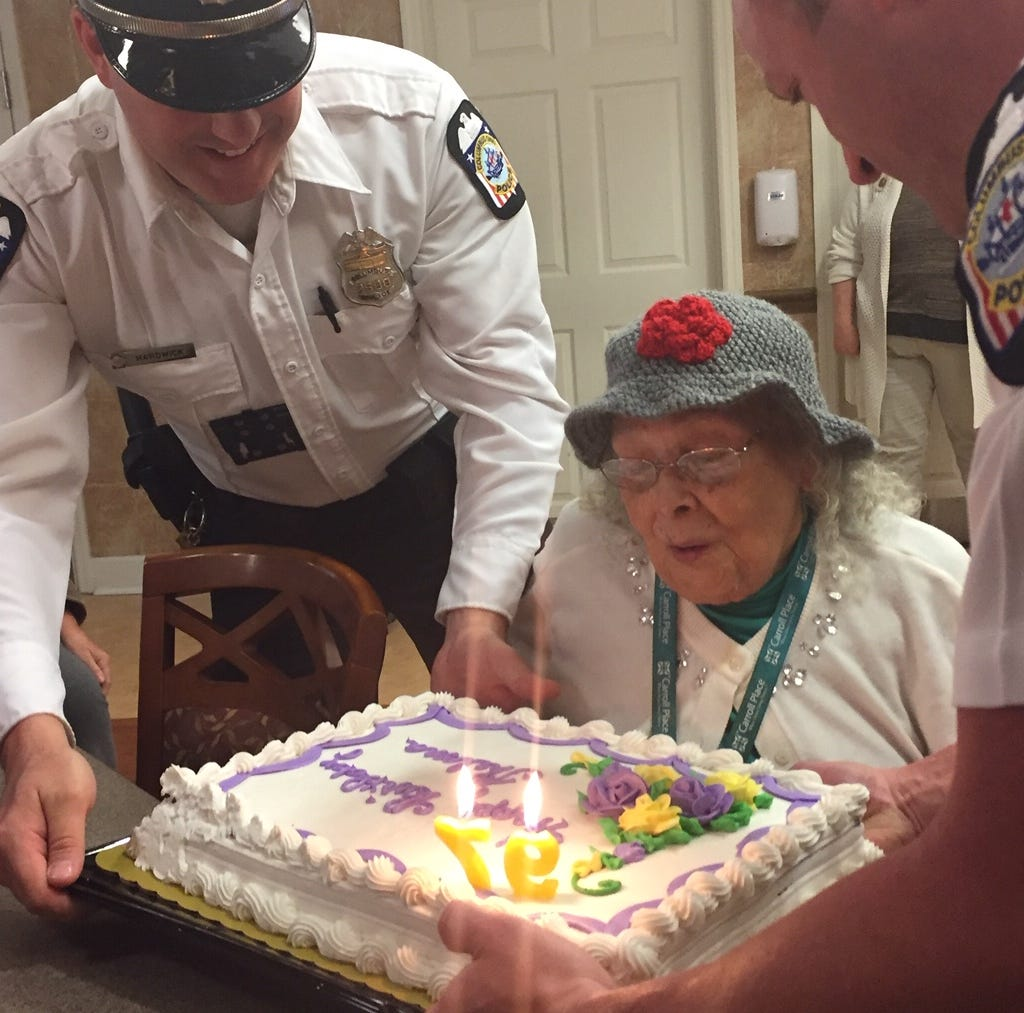 Columbus police officers help Carroll woman celebrate her 97th birthday