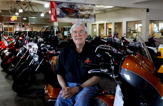Joe Carson sits on one of the motorcycles at Joe Carson Honda and Harley-Davidson Tuesday morning, May 7, 2019, near Carroll. Carson, who started driving motorcycles when he was 14, has owned the dealership and repair shop for 50 years.