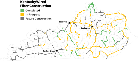Map of the KentuckyWired fiber lines that are completed, in progress and are part of future construction in Kentucky