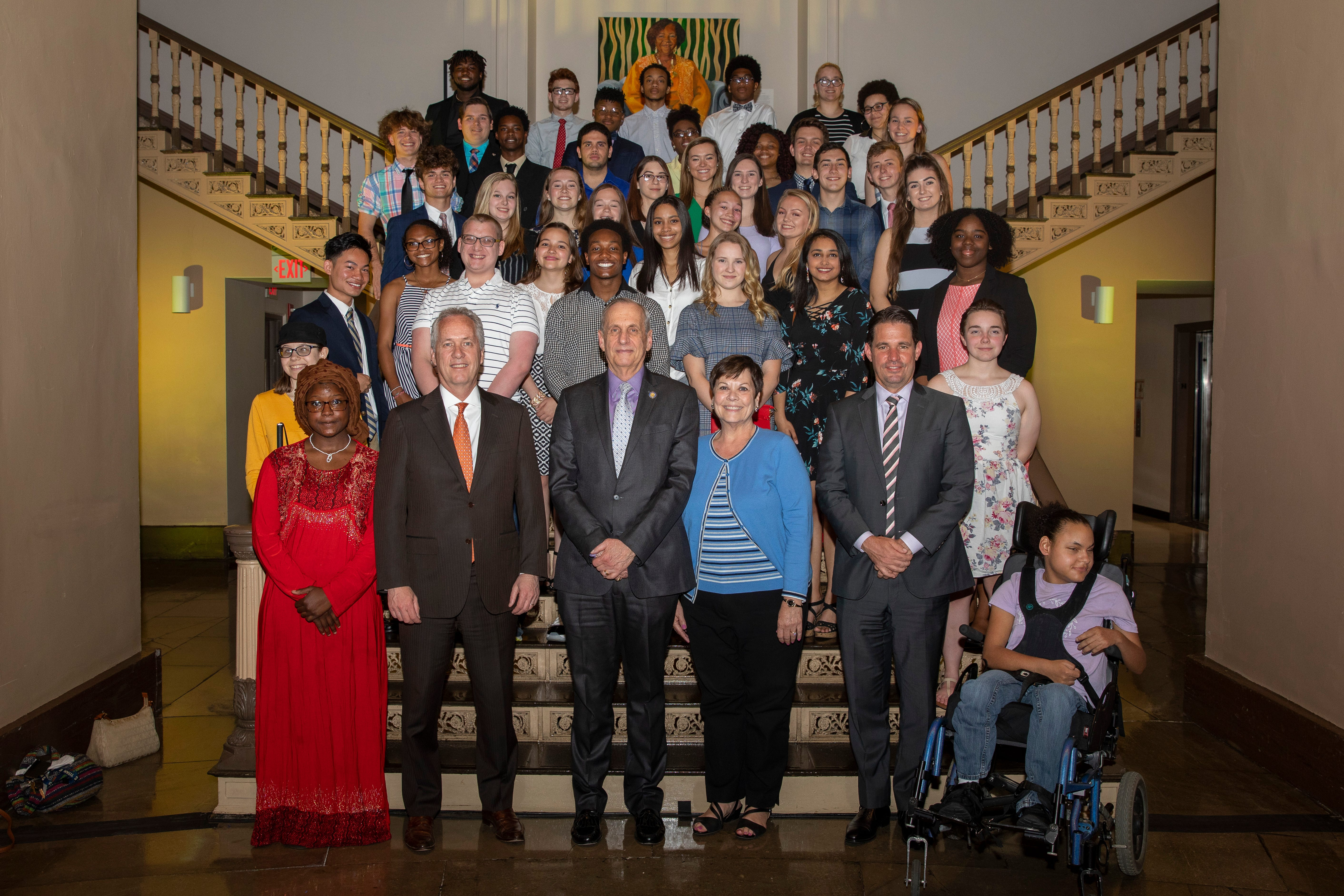 Mayor Greg Fischer honored 49 public, private and Catholic students who have excelled in and out of the classroom with his annual Kentucky Lottery Outstanding High School Seniors Award
