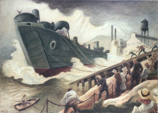 """""""She's Off,"""" Thomas Hart Benton, watercolor on paper, 1944, Navy Art Collection, 88-159-AS, Gift of Abbott Laboratories"""