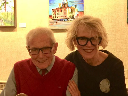 Ron Stokes and Barbara Bundy-Jost share a laugh at the 2018 Art Slam Exhibit and Awards Reception.