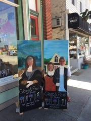 Cheryl Mahowald (from left), Erin LaBonte and Jill Iverson partake in some of the fun during the 2018 Art Slam.
