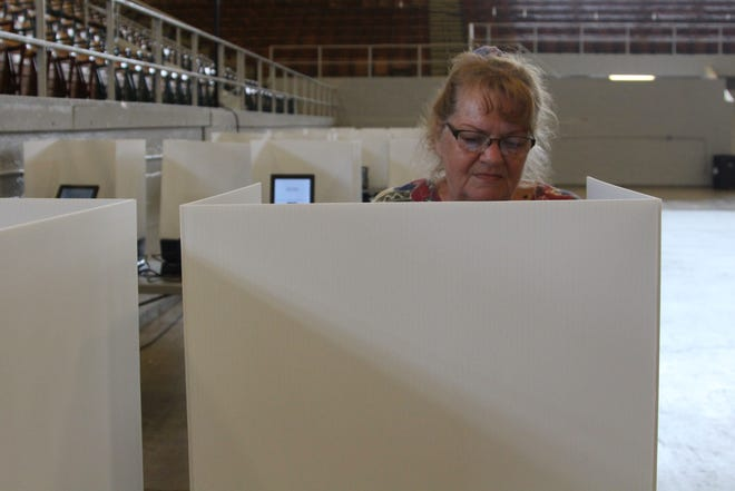Patricia Douce makes her selections during May's Primary election on Tuesday.
