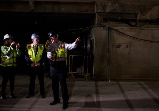 Tom Marshall, project manager, right, speaks during a tour of the Memphis Convention Center, May 07, 2019. The convention center is being renamed the Memphis Convention Center and is scheduled to open in fall of 2020.