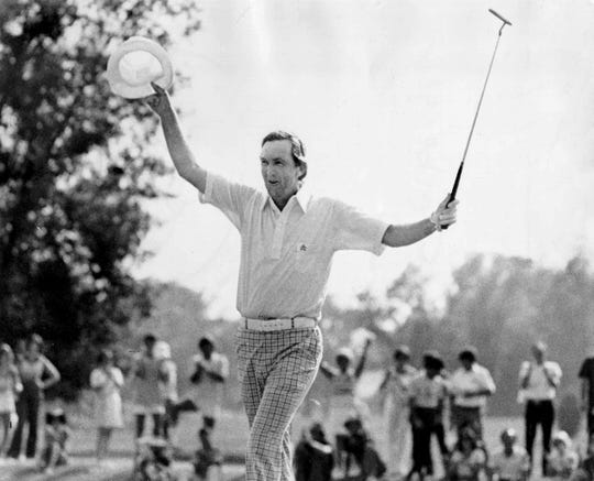 Al Geiberger celebrates in 1977 after shooting a record 59 to win the Danny Thomas Memphis Classic at Colonial Country Club on June 10, 1977.
