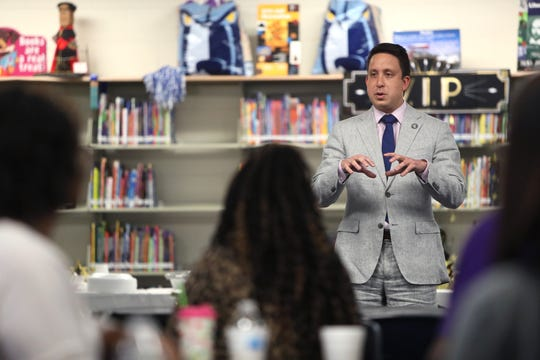 Shelby County Commissioner Michael Whaley speaks with teachers at Belle Forest Community School as the mayor and his staff supplied lunch for the educators during teacher appreciation week on Tuesday, May 7, 2019.