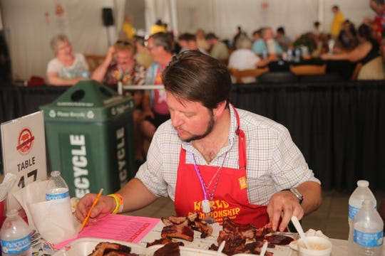 Blind judging is a serious affair at the Memphis in May World Championship Barbecue Cooking Contest.