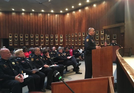 Memphis Police Director Michael Rallings speaks to the City Council on Tuesday in favor of instituting a $5 entry fee on Beale Street.
