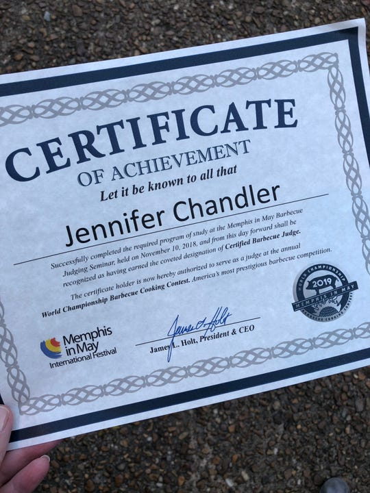 Food and Dining reporter Jennifer Chandler is awfully proud of this certificate.