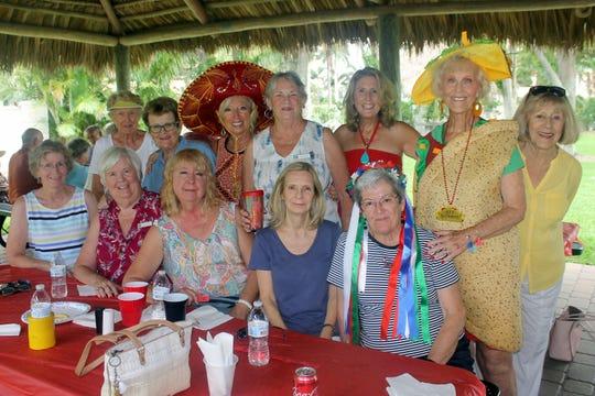 Smiling senoritas, seated: Margie Milici, Linda Keyes, Bobbie Ordejia, Pat Arcidiacono and Barb Markel; Standing: JoAnn Vesely, Barb Halderman, Rose Kraemer, Dottie Daniels, Betsy Wohltman, Susie Walsh and Virginia Bingle.