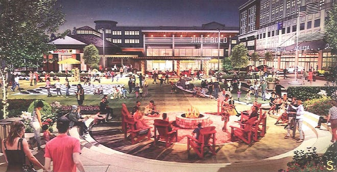 City financing would help redevelop Bayshore Town Center, including improvements to its public square.