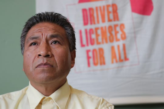 Raymundo Martinez-Moreno waits to speak during a Voces de la Frontera news conference. Martinez-Moreno was pulled over for driving without a license in July 2017 while driving home from work. He was later arrested and detained by Immigration and Customs Enforcement and is in danger of being deported.