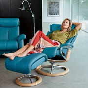 Stressless® Recliner in Crystal Blue Paloma Leather