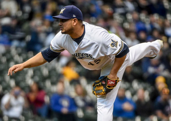 Brewers pitcher Jhoulys Chacin struggled early Monday night against the Nationals but was solid after the first inning.
