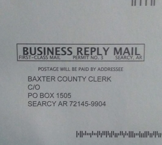 The return postcards included in a recent batch of requests for updated voter addresses contains a Searcy post office box number as the return address.
