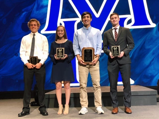 Finalists for the Jim Holsted Memorial Athlete of the Year Award from Mountain Home High School were: (from left) Talyn Benton, Payton Huskey, Luke Kruse and Hunter Beshears.