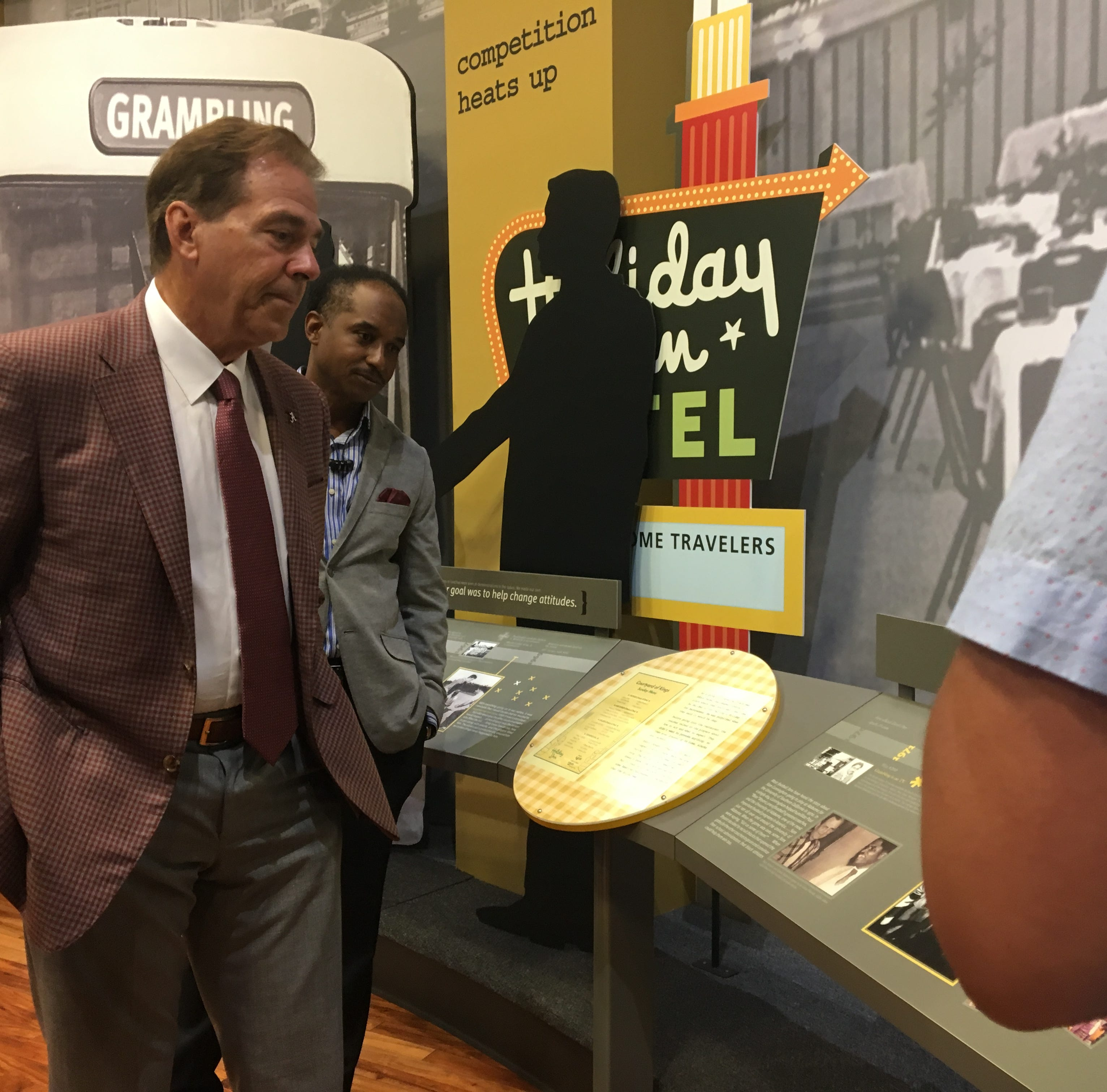 Alabama's Nick Saban helps GSU celebrate Eddie Robinson's 100th birthday