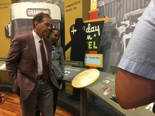 Alabama head football coach Nick Saban tours the Eddie G. Robinson Museum before town hall event Tuesday, May 7, 2019.