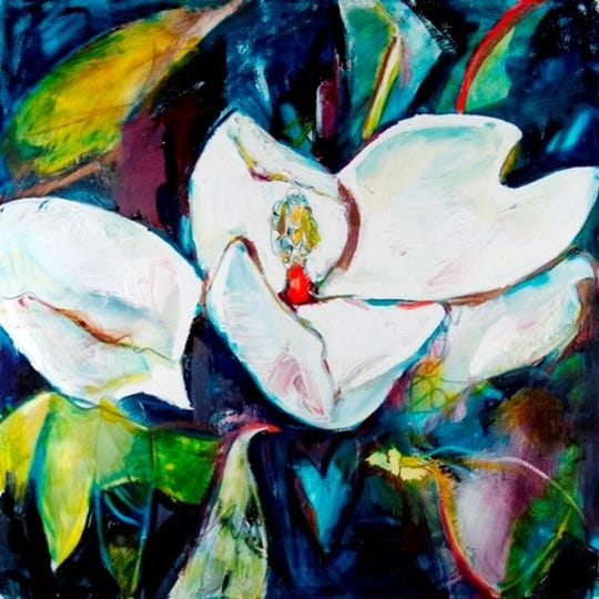 Monroe artist Caroline Youngblood painted a magnolia, which she said signifies enlightenment, to go with her portraits of the 2019 Louisiana Legends.