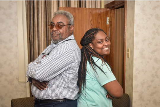Leartrice Hawkins and his daughter Lear Hawkins are candidates to receive their Masters of Criminal Justice on Friday from Grambling State University.