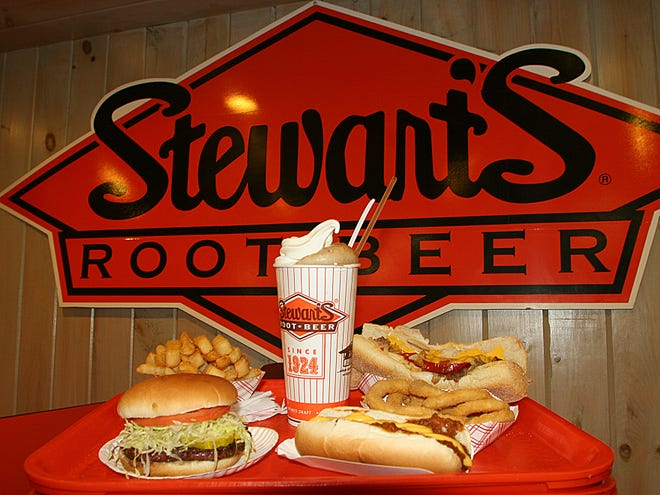 Stewart's file photo -A sampling of foods; hamburgers, hot dogs, fries, onion rings, steak sandwich and a root beer float.