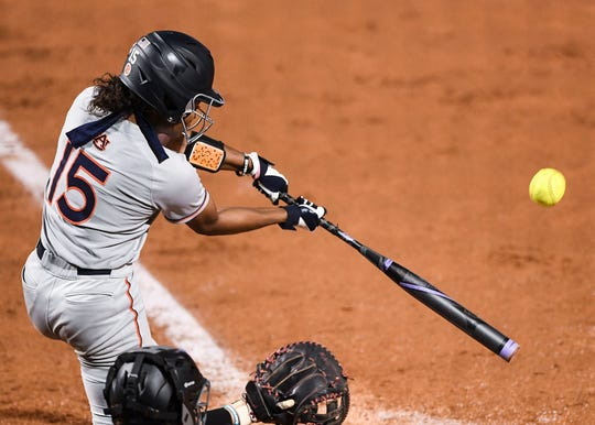 Auburn's Bree Fornis (15) bats against South Carolina on Friday, April 12, 2019, in Auburn, Ala.
