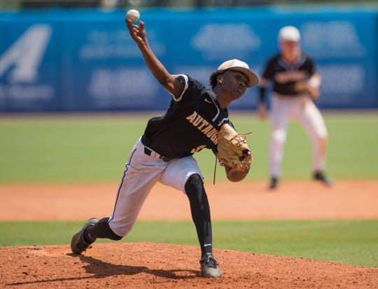 Autauga's Kyrin Long (3) pitches against Lakeside during the AISA Class AA state championship at Riverwalk Stadium in Montgomery, Ala., on Tuesday, May 7, 2019. Lakeside defeated Autauga in both games of a doubleheader to win the championship.