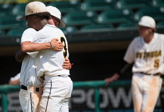 Autauga players react to losing the AISA Class AA state championship at Riverwalk Stadium in Montgomery, Ala., on Tuesday, May 7, 2019. Lakeside defeated Autauga in both games of a doubleheader to win the championship.