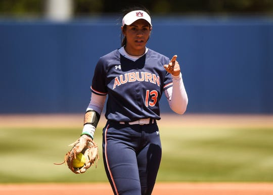 Auburn left-handed pitcher Chardonnay Harris points toward home plate during a softball game.
