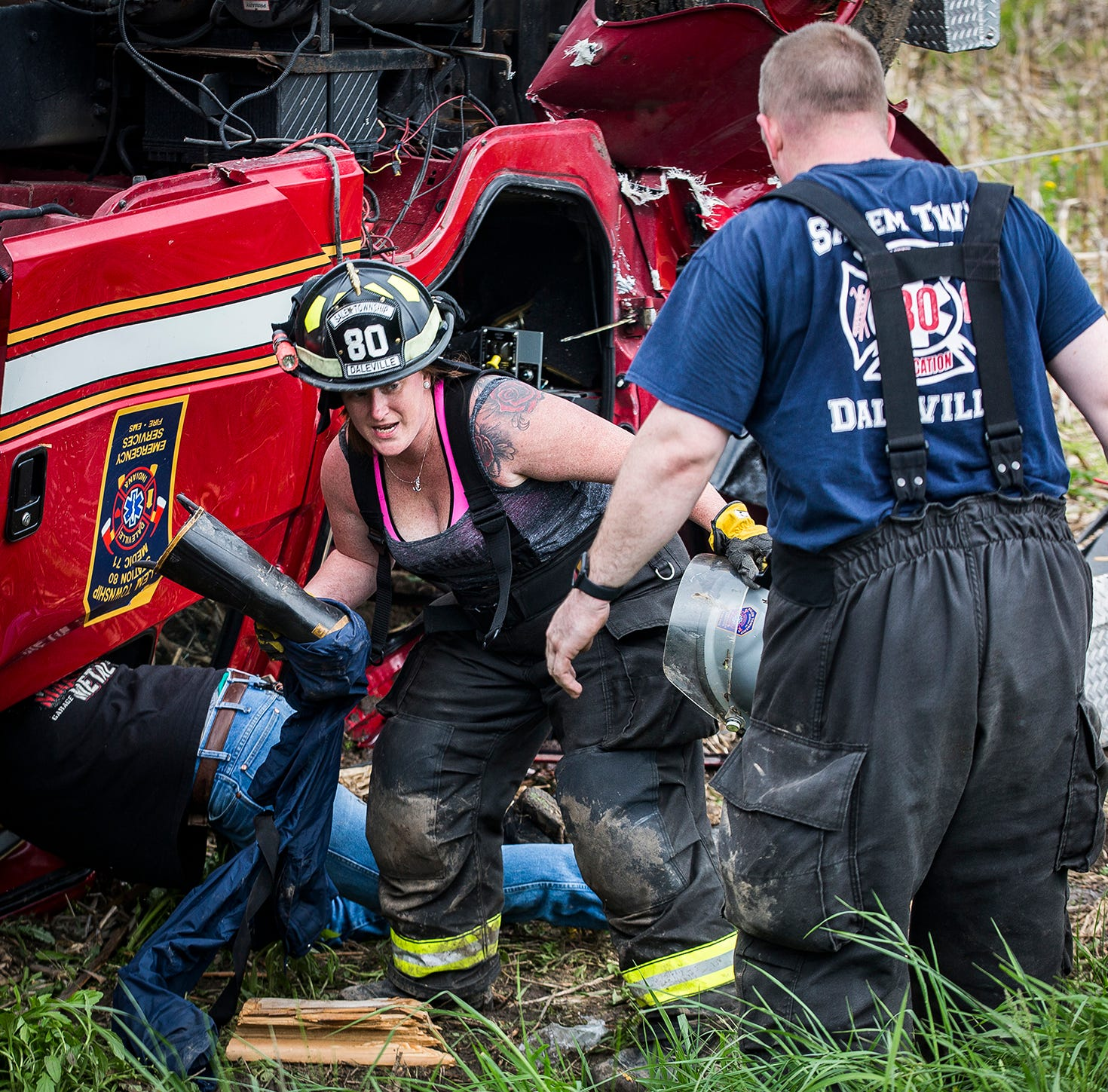 Daleville firefighter in serious condition after fire truck accident