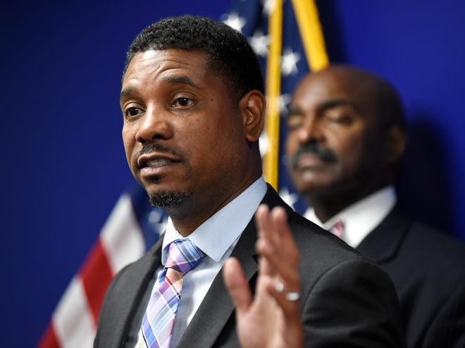 Rep. Vincent Dixie speaks at a press conference on Speaker Glen Casada and his chief of staff Cade Cothren at the Cordell Hull Building Tuesday, May 7, 2019 in Nashville, Tenn.