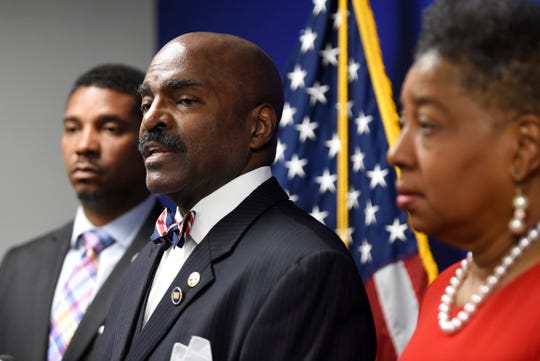 Rep. G.A. Hardaway speaks as Rep. Vincent Dixie and Sen. Brenda Gilmore listen at a press conference on Speaker Glen Casada and his chief of staff Cade Cothren at the Cordell Hull Building Tuesday, May 7, 2019 in Nashville, Tenn.