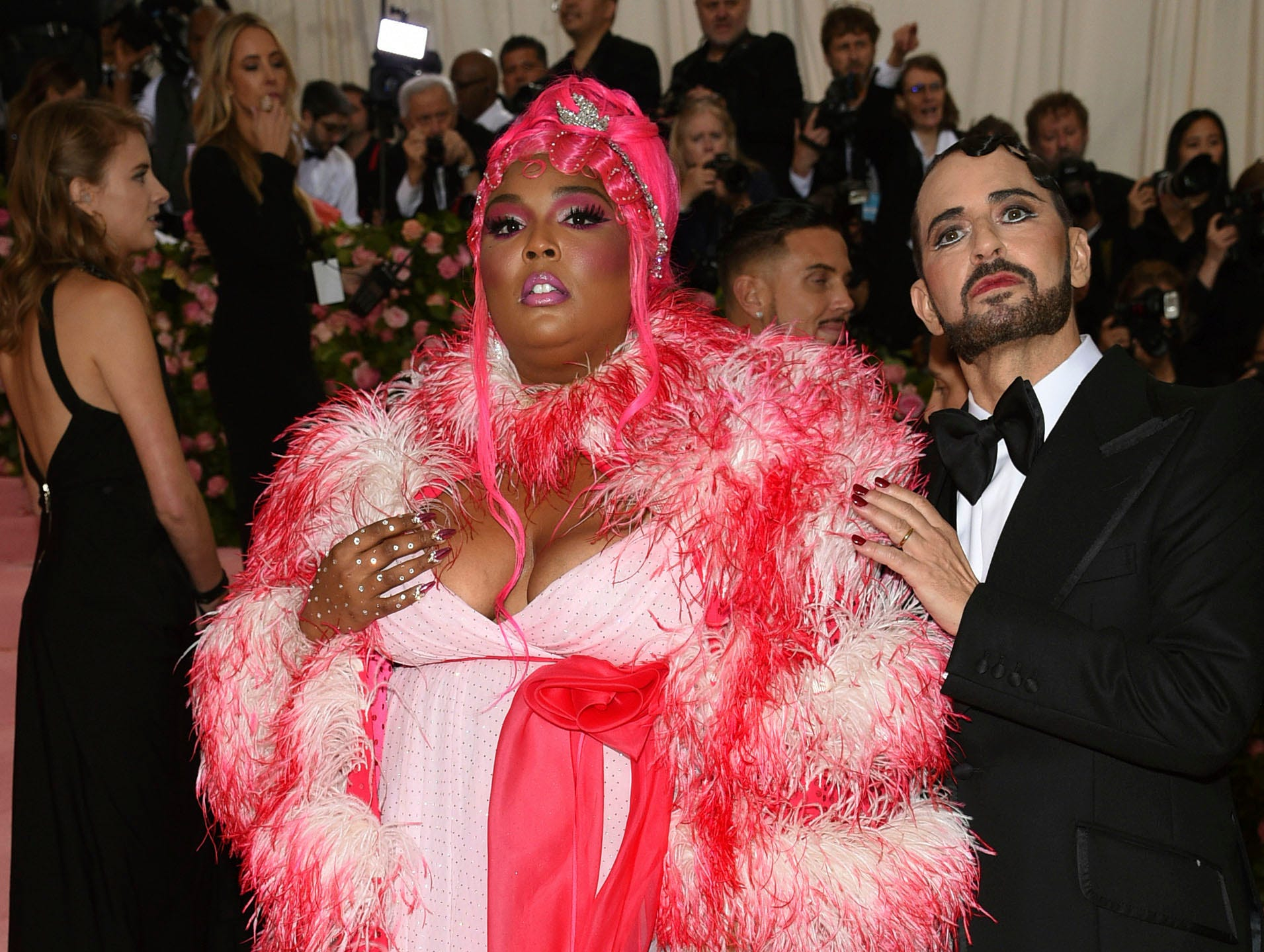 """Lizzo, left, and Marc Jacobs attend The Metropolitan Museum of Art's Costume Institute benefit gala celebrating the opening of the """"Camp: Notes on Fashion"""" exhibition on Monday, May 6, 2019, in New York. (Photo by Evan Agostini/Invision/AP)"""