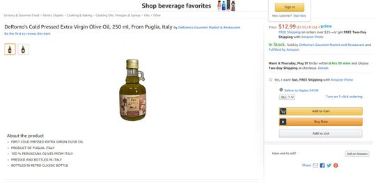 DeRomo's Gourmet Market and Restaurant brought exclusive-label olive oil, vinegar and other items to Amazon.com