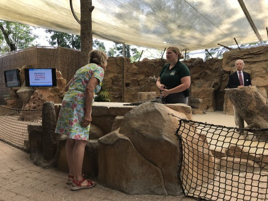 Susan Becker, a member of Collier County's Tourist Development Council, checks out animals at the Naples Zoo at Caribbean Gardens on May 7, 2019, ahead of a formal presentation on why tourism matters.