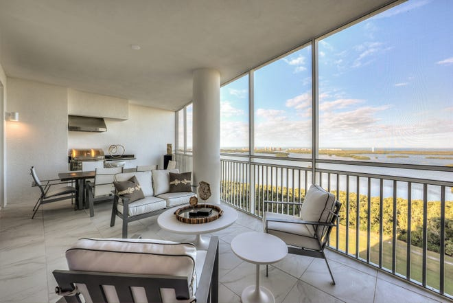 The outdoor spaces included with the Seaglass tower residences merge the indoor and outdoor while providing spectacular views of Southwest Florida's  sunsets.