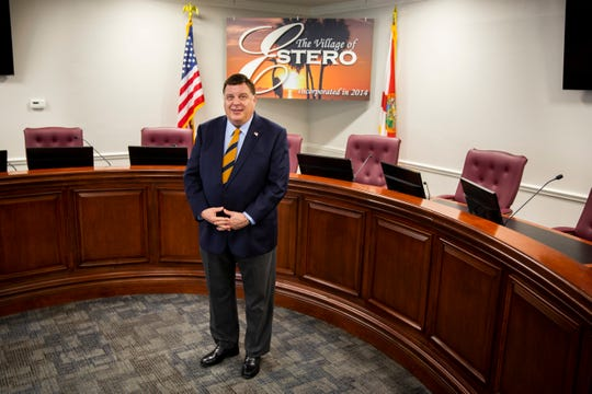 Estero Mayor Bill Ribble poses for a portrait at the Estero Village Hall on Monday, May 6, 2019. Ribble has been a part of Estero's first village council since 2015, and will serve his final two years on the council as mayor.