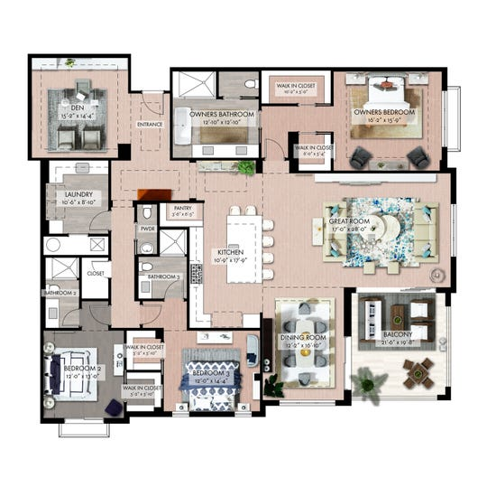 """The 2,952 square-foot Quattro """"D"""" floor plan features a great room and dining area that open to a covered balcony, three bedrooms and three-and-a-half baths."""