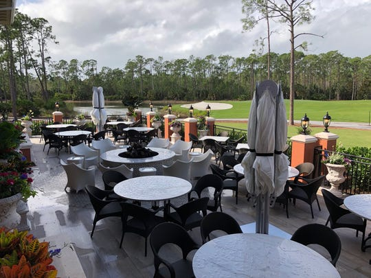 A west-facing fire pit terrace at the clubhouse offers golf course views during the day and colorful sunset views at night.
