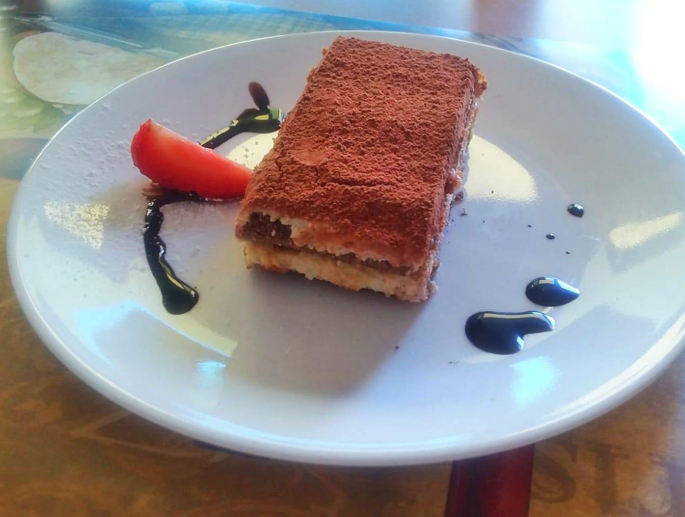 Desserts include tiramisu at the new Sicilia Bar, Pizza & Pub on Bayshore Drive in East Naples.