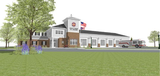 A sketch of the front of the new fire house.