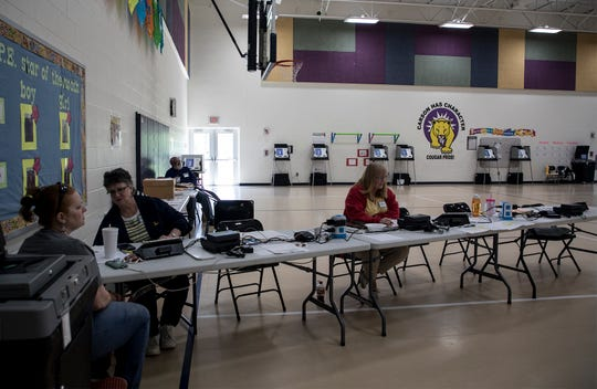 The gymnasium at Carson Elementary is filled with voting machines, but no voters. Election officials said there had only been around 60 people in to vote by early afternoon. Kristina Henderson, her mom Peggy Henderson and Carrie Caito all election officials were waiting for voters to come in.