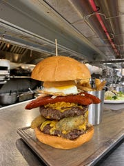The Monster burger can be had at brunch at Crabby's in Randolph