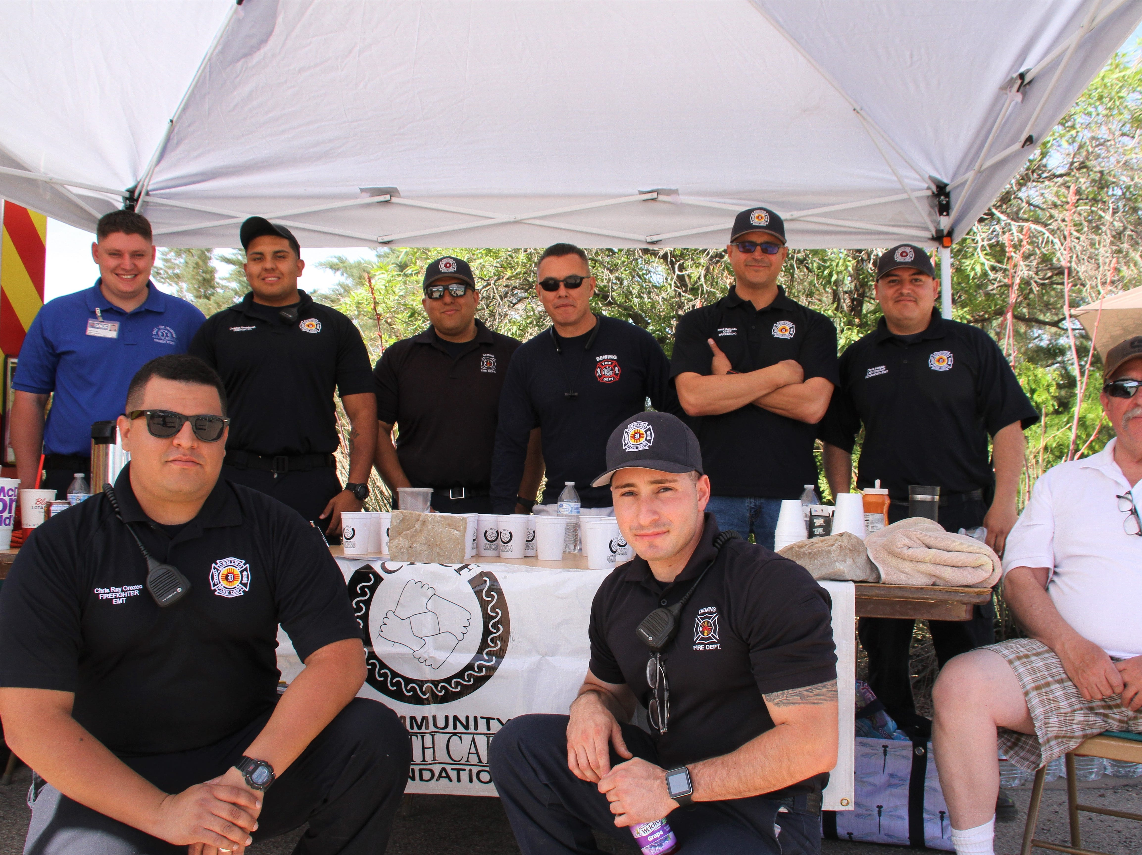 Deming Fire Department along with Community Health Care Foundation tabling together at the Celebration of Life walk.