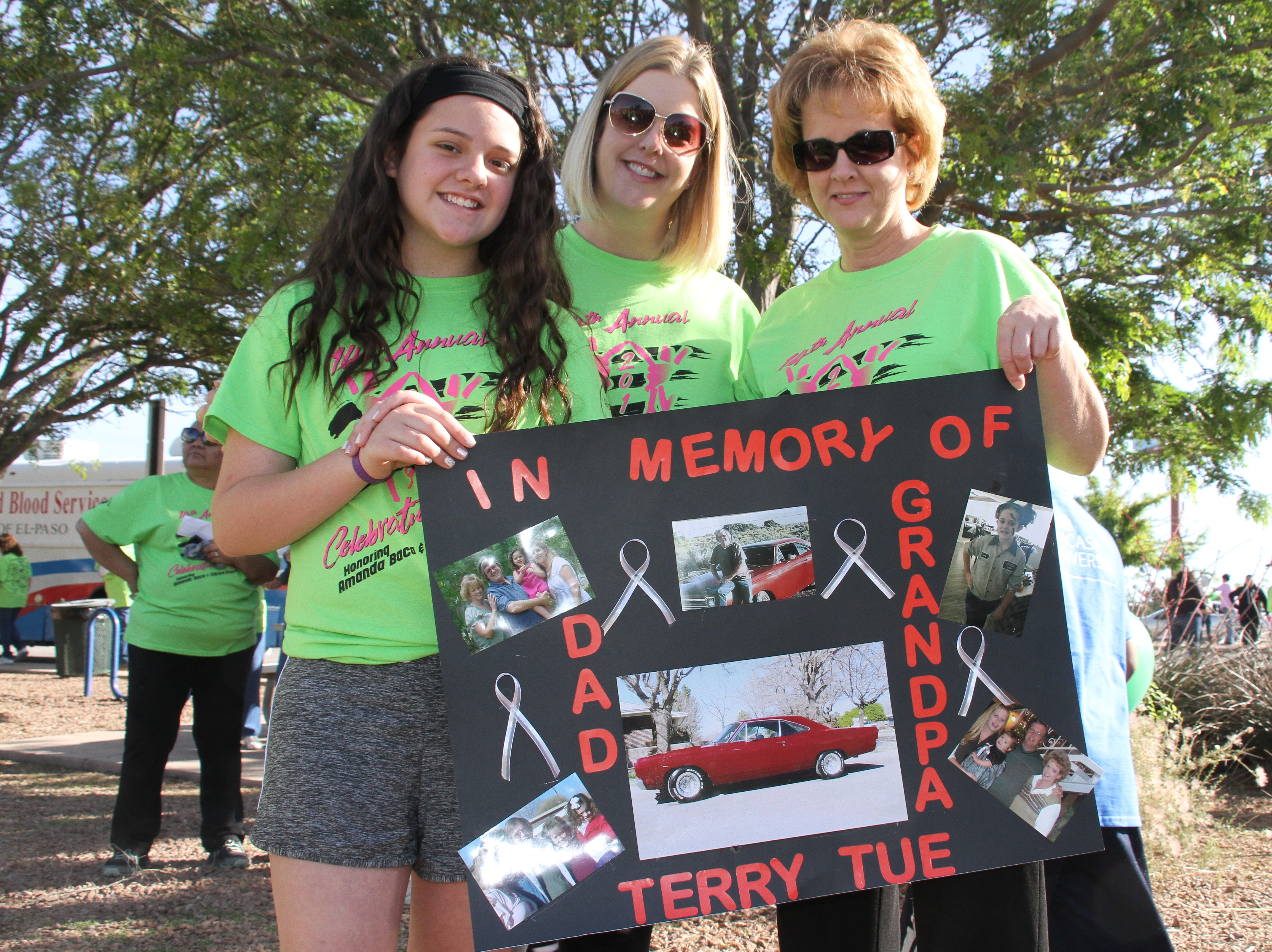 For left, Olivia Zuniga, Kelly Zuniga and Kim Robinson participating in this year's Celebration of Life in memory of grandfather and father Terry Tue.