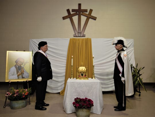 The Incorrupt Heart of St. Jean Vianney was on display for adoration Tuesday, May 7, 2019 at the Cathedral of the Immaculate Heart of Mary in Las Cruces.