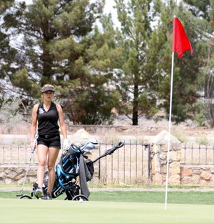 Angelita Altamirano, a junior at Oñate High School shot a 110 during the District 3-5A Golf Championships at Rio Mimbres Golf Course in Deming.