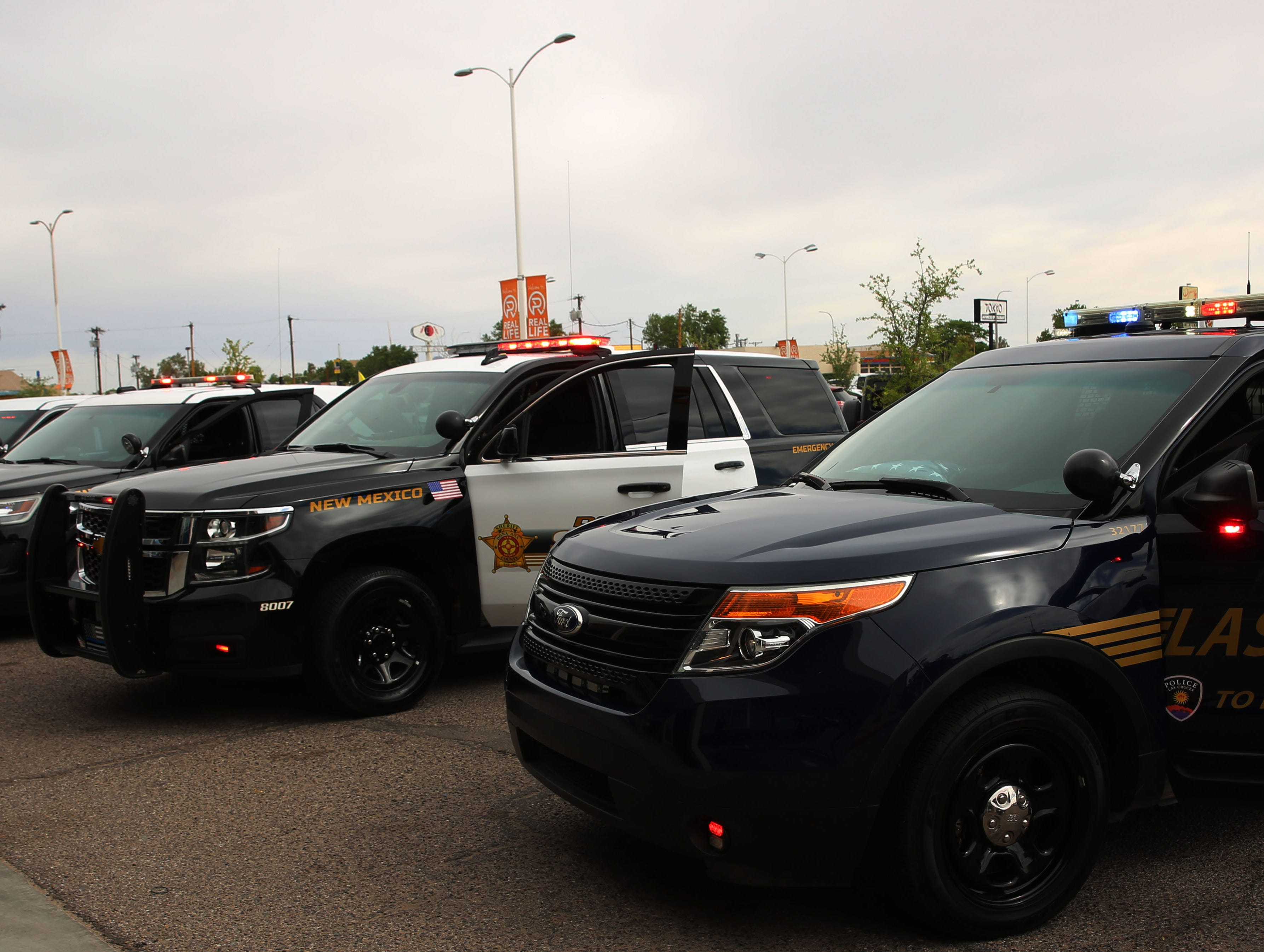 Police units line the front of Mesilla Park Community Church Tuesday, in silent witness, during the Fallen Officer Memorial in Las Cruces, Tuesday May 7, 2019.