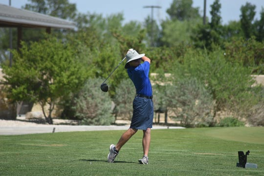 Eli House tees off on hole No. 1 Monday morning at Rockwind Community Links during the District 4-5A Golf Tournament.